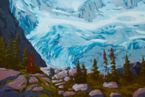 Glacier Patterns, Bugaboos Acrylic on canvas 24 x 36 inches by Justin Beckett