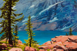 Low Pomt, Thunderwater Lake, Acrylic on canvas 24 X 36 inches, by Justin Beckett
