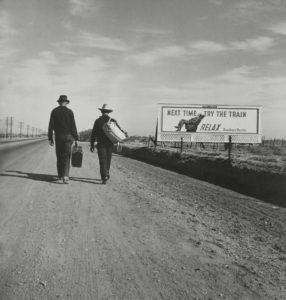 On the Road to Los Angeles, California. 1937 Gelatin silver print 8 1⁄16 × 7 3⁄4 inches by Dorothea Lange