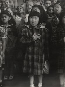 One Nation Indivisible, San Francisco. 1942 Gelatin silver print, 13 1/8 x 9 13/16 inches by Dorothea Lange