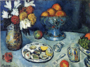 Still Life, Dessert. 1901 oil on canvas 59×78 cm by Pablo Picasso (1881-1973)