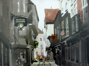 The Shambles, York watercolour on paper 15 x 11 inches by Jack Hambleton