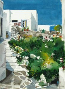 Paros, Greece watercolour on paper 16 x 12 inches by Jack Hambleton