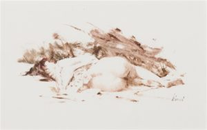 Reclining Nude (Jamie), 1978 oil wash 5 x 8 inches by Richard Alan Schmid