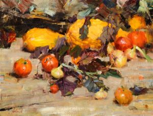 Summer Squash, Tomatoes, Beet Greens and Onions from Mrs. Carlson's Garden Oil on canvas 18 x 24 inches by Richard Alan Schmid