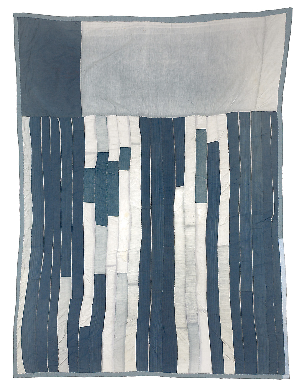 Blocks-and-Strips-Work-Clothes-Quilt1950s-Denim-and-cotton-twill-87-x-66-inches-Emma-Lee-Pettway-Campbell