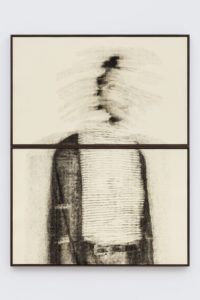 Blur in the Interest of Precision, 2018 Oil paint applied with rubber stamp letters and graphite grid on embossed Mohachi paper 54 x 42 inches total dimensions by Kentura Davis