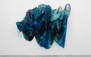 Untitled (Sea), 2016 House dresses, resin, and fiberglass 82 x 96 x 26 1/2 inches by Kevin Beasley