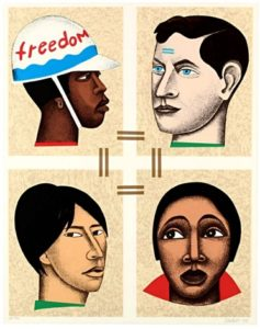 Freedom or Slavery, 1998 Color lithograph 35.4 x 29.25 inches by Elizabeth Catlett