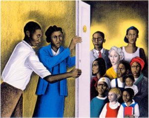 The Door of Justice, 2000 color lithograph 24.25 x 27.5 inches by Elizabeth Catlett (1915–2012)