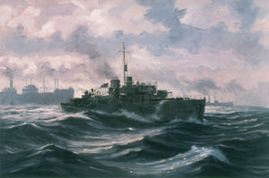 HCMS Sackville on North Atlantic convoy duty oil on board by John M. Horton