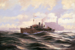 HMCS Sackville, the Last Corvette oil on board by John M. Horton