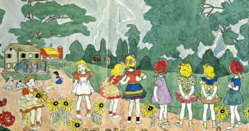 Untitled watercolour by Henry Darger (1892-1973), a Chicago hospital custodian whose 15,145-page, single-spaced fantasy manuscript called The Story of the Vivian Girls, in What Is Known as the Realms of the Unreal, of the Glandeco-Angelinian War Storm, Caused by the Child Slave Rebellion, along with several hundred drawings and watercolor paintings illustrating the story were discovered posthumously in his apartment.