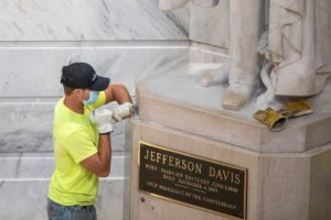 Statue of Jefferson Davis, Frankfort, Kentucky, 1936 Tennessee marble by Frederick Hibbard (1881-1950) Permanently removed from the Kentucky State Capitol Rotunda on June 12, 2020. Ryan C. Hermens photo.