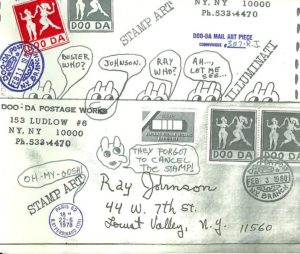 Envelope for mail art, February 3, 1980 sent to Ray Johnson