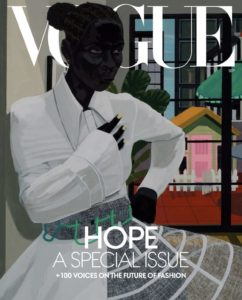 Portrait of a woman wearing a dress by Virgil Abloh for the cover of the September, 2020 issue of Vogue by Kerry James Marshall (b. 1955)