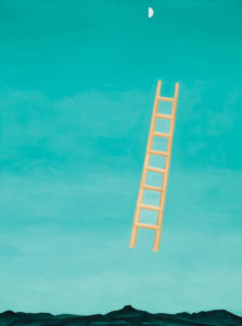 Ladder to the Moon, 1958 oil on canvas 40 3/16 × 30 1/4 inches by Georgia O'Keeffe