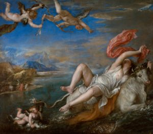 The Rape of Europa, ca. 1560–1562 Oil on canvas 178 × 205 cm by Titian (b. c.1488-90 – 1576)