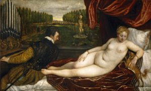 Venus and Organist and Little Dog, 1550 Oil on canvas 138 x 222.4 cm by Titian