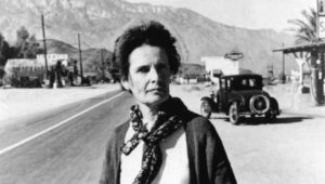 Agnes Pelton near her home in Cathedral City, California