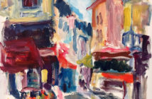 Place de la Contrascarpe, Paris 2016 Acrylic on canvas 30 x 24 inches by Susan Marx