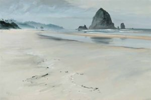 Haystack Rock (n.d.) oil on board 24 x 36 inches by Egbert Oudendag (1914 - 1998)