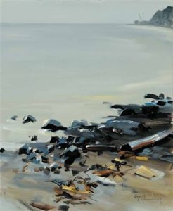 White Rock Beach (n.d.) Oil on board 24 x 20 inches by Egbert Oudendag