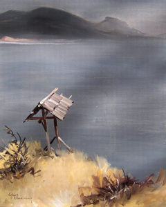 Wooden Marker, (n.d.) Oil on board 24 x 20 inches by Egbert Oudendag