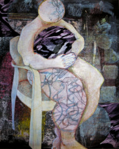 Orbiting Grief 2 Assemblage painting by Francesjoy Bradbury