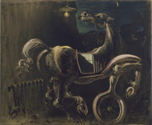 Debris of an Automobile Giving Birth to a Blind Horse Biting a Telephone, 1938 Oil on canvas 21 1/2 x 25 5/8 inches by Salvador Dalí