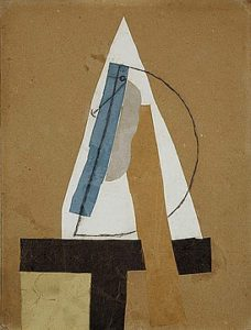 Head, 1913–14 Cut and pasted coloured paper, gouache and charcoal on paperboard 43.5 × 33 cm by Pablo Picasso