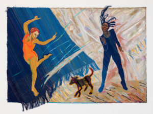 Black Dog Blues, 1983 Acrylic on canvas with handwoven fabric 52 x 76 inches by Emma Amos