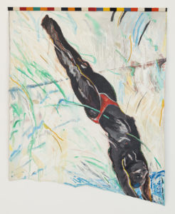 Diagonal Diver, 1985 Acrylic on fabric with African fabric borders 77 x 59 inches by Emma Amos