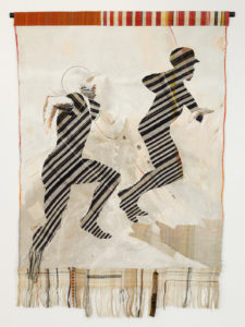 Hits, 1983 Acrylic on canvas with hand-woven fabric 84 x 70 inches by Emma Amos