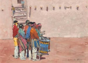 Drummers of Ildefonso, New Mexico, 1970 Oil on canvas 18 x 24 inches by Robert Genn