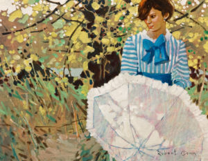 Sara in the Orchard, 1985 Acrylic on canvas 14 x 18 inches by Robert Genn