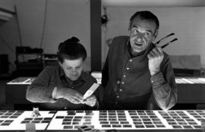 Husband and wife Modernist architecture and design pioneers Ray and Charles Eames. Eames Office LLC photo.