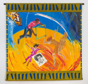 Women and Children First: Howardena's Portrait, 1990 Acrylic on canvas with hand-woven fabric and African fabric borders 74 × 71 1/2 inches by Emma Amos (1937-2020)