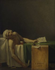 The Death of Marat, 1793 Oil on canvas 162 × 128 cm by Jacques-Louis David