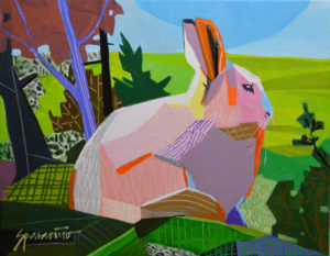 Rabbit Lookout Acrylic on slim canvas 11 x 14 inches by Jennifer Sparacino