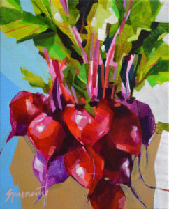 Beets on Paper Bag Acrylic on canvas 10 x 8 inches by Jennifer Sparacino