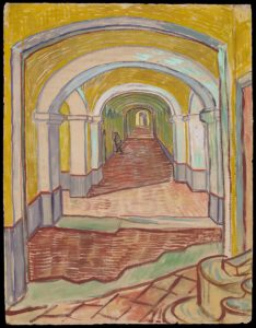 Corridor in the Asylum, 1889 Oil color and essence over black chalk on pink laid Ingres paper 65.1 x 49.1 cm by Vincent van Gogh
