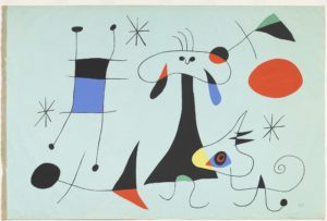 The Sun (El Sol), 1949 Screenprint on canvas 49 3/4 × 75 1/4 inches by Joan Miro