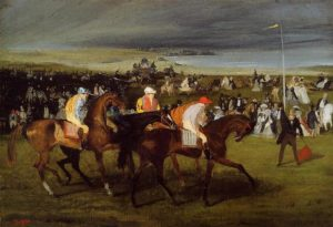 At The Races. The Start, 1861-62 Oil on canvas by Edgar Degas