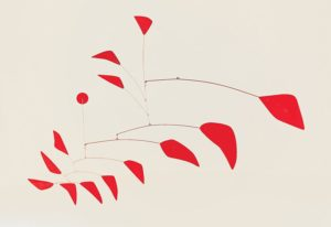 Big Red, 1959 Sheet metal, wire, paint 74 × 114 inches by Alexander Calder