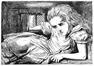 Alice crammed in Rabbit's house, and illustration from Alice's Adventures in Wonderland, 1865 engraving by John Tenniel (1820-1914)