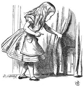 Alice finds a tiny door behind the curtain, an illustration from Alice's Adventures in Wonderland, 1865 engraving by John Tenniel
