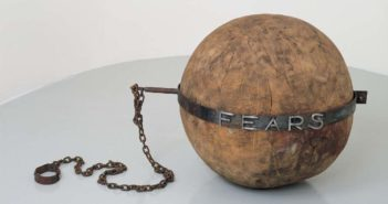 Fears, 1992 Wood and iron  Diameter: 30 inches by Louise Bourgeois