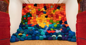 Installation view of  Escalade Beyond Chromatic Lands, 2016–17, at The Bass, Miami Beach, 2019  by Sheila Hicks (b. 1934)  Zachary Balber photo.