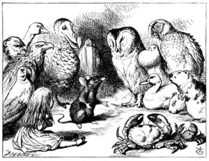 Mouse Tells a story to bird, an illustration from Alice's Adventures in Wonderland, 1865 engraving by John Tenniel